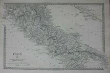 ITALY II, LIVORNO to GULF OF TARENTO, original antique map, SDUK, 1844