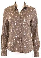 ESPRIT Womens Shirt UK 14 Large Khaki Floral Cotton  N013