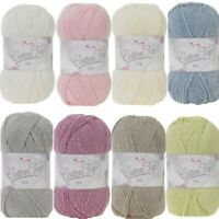 King Cole Cotton Top DK Knitting Yarn Wool 100g Ball Double Knit