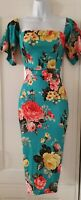 Womens Asos Teal Floral Stretch Textured Bardot Off Shoulder Bodycon Dress 10.