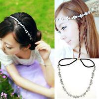 Lady Fashion Elastic Metal Rhinestone Crystal Headband Head Chain Hair Band Fine