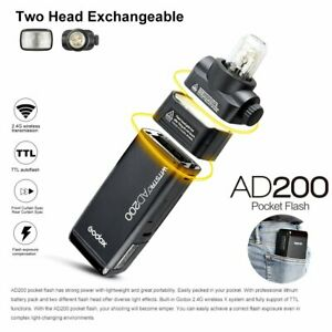 Godox AD200 2,4G TTL HSS Doppelkopf Blitz Blitzgerät + 2900mAh Batterie Tasche