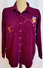 Disney Womens Corduroy Shirt Size Medium Winnie the Pooh Piglet Tigger Purple