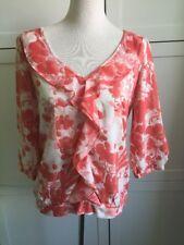 NEXT Orange/Cream/Peach Floral Top Frill Neckline 3/4 Sleeves Sz 10