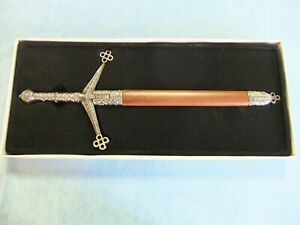 Celtic Claymore Dagger - Intricate Pewter Finish Design w/Handsome Wood Scabbard