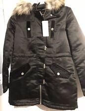 BNWT Lipsy london Black Fur Hood Parka/coat Sz 8