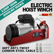 2000lb Electric Overhead Motor Lift Hoist Garage Engine Winch Crane Automobile
