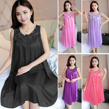 Women Loose Silk Satin Robe Short Night Dress Sleepwear Nightwear Night Gown