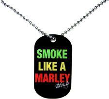 67022 Smoke Like a Marley Necklace Rasta Color Text Black Dog Tag Bob Reggae New