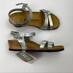 Papillio Birkenstock Lana Silver Wedge Sandals US 5-5.5 EU 36 New $130