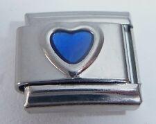 BLUE LOVE HEART Italian Charm - 9mm fits Classic Starter Bracelets - September