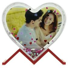 Glitter Water Globe Heart Shaped Picture Frame with Stand 3.9 Inches