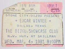 Edgar Winter Ticket Stub March 4, 1981 The Bijou Showcase Club