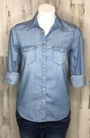 American Eagle Pearl Snap Blue Denim Chambray Boyfriend Shirt Sz XS 100% Cotton