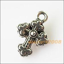 10 New Heart Flower Leaf Cross Tibetan Silver Tone Charms Pendants 15x18mm