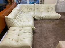 SUPERB LIGNE ROSET TOGO 4-Piece, Modular Sofa Cream Leather, EXCELLENT CONDITION