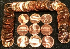 1 1964 Memorial Cent Red Gem Proof Roll (50 coins)