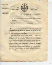 CIRCULAIRE / PARIS LE 18 MESSIDOR AN 6 DE LA REPUBLIQUE / GARDES FORESTIERS
