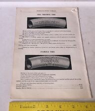 1902 Bicycle Catalog Page Illustration w Prices TIRES & TUBES Triumph Famous