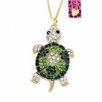 Betsey Johnson Enamel Crystal Turtle Tortoise Pendant Sweater Chain Necklace