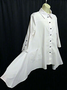 IC by Connie K White Asymmetrical Tunic Top Cotton Blend Artsy Size L Large