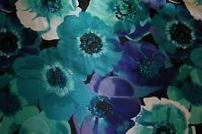 Blues Purple Floral Charmeuse Print #2 Apparel Dress Sewing Fabric BTY
