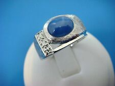 14K WHITE GOLD VINTAGE STAR SAPPHIRE AND SMALL DIAMONDS RING, 8 GRAMS, SIZE 9.