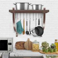 Kitchen Pot and Pan Rack Organizer Storage Wall Holder Cookware 10 Hooks Hanger