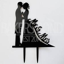Señor y la Sra. Novia & Novio Acrílico Negro Boda Cake Topper Silueta