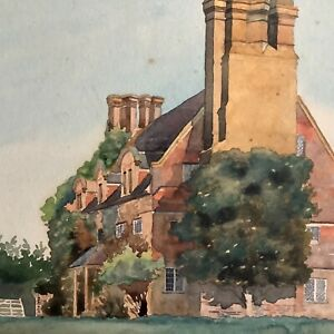 An early 20thC watercolour of an east Anglian Manor House by J.E.Bassett Smith