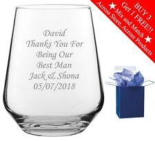 Personalised Engraved Whiskey Tumbler Glass Usher Best Man Wedding Gift Boxed