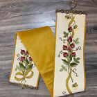 """Vintage Bee Strawberry Tapestry Bell Pull Wall Hanging Brass Hardware 58"""" 7.5"""""""