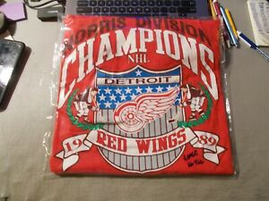 VINTAGE 1989 DETROIT RED WINGS NORRIS DIVISION CHAMPIONS T-SHIRT SIZE LARGE