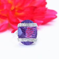 White Gold 14K Oval Fantasy Cut 10.12 CTW Amethyst & Diamonds Ring Size 7