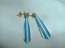 VINTAGE ART DECO CELLULOID DANGLE PIERCED EARRINGS IN GIFT BOX