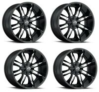 Set 4 17x9 Vision Manic Gloss Black Machined Face 6x135 Wheels 12mm w/ Lugs