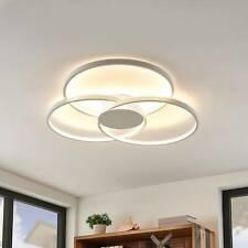 LED Deckenleuchte Riley Rund Drei Kreise Deckenlampe Lindby Weiß Küche Dimmbar