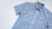 SuperDry Casual Shirt mens Short Sleeve Top Size M Medium blue white gingham