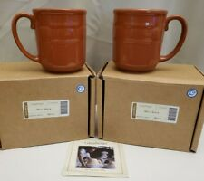 New ListingSet of 2 Longaberger Pottery Woven Traditions Spice Orange Coffee Mugs Cups New