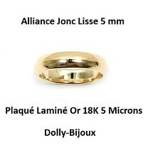 Alliance T60 Jonc Lisse 5 mm Plaqué Laminé Or 18K 5 Microns de Dolly-Bijoux