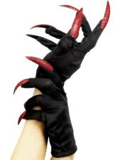 Adult Long Red Nails Halloween Party Gloves Fancy Dress Costume Accessory