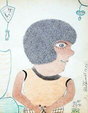 "INEZ NATHANIEL WALKER ""UNKNOWN"" 1973   ORIGINAL PENCIL & CRAYON/PAPER   14 X 11"""