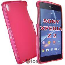 Cover Custodia Per Sony Xperia Z 2 Z2 Fucsia Retro Opaco Gel TPU