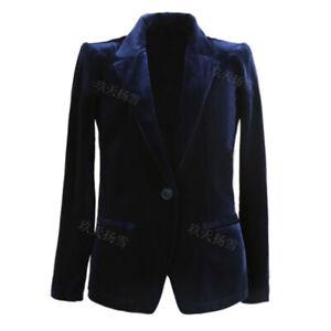 Women's Coat Slim Short Velvet Blazer Jacket Dress Formal Party Office Ladies D