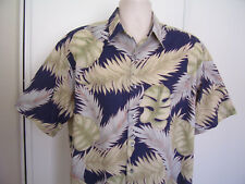 TORI RICHARD Hawaiian Foliage Print COTTON LAWN Men's Shirt Size L USA
