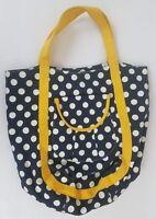J. Crew Polka Dot Canvas Tote Bag Blue Yellow White Cotton Sach Purse