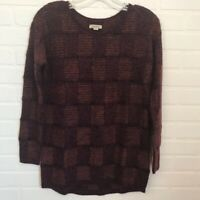 Lucky Brand Women's Checkered Sweater Sz XS Fuzzy Metallic Crew Neck Long Sleeve