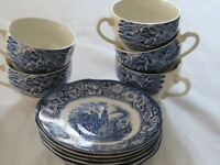 Staffordshire England LIBERTY BLUE ~Old North Church ~ 5 Cups 6 Saucers
