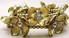 "Vintage 7"" NATASHA Bracelet Chunky Runway Fashion Floral Rhinestones Gold Tone"