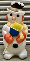 """Vintage 30"""" Poloron Snowman With Broom Blow Mold Light Up Christmas"""